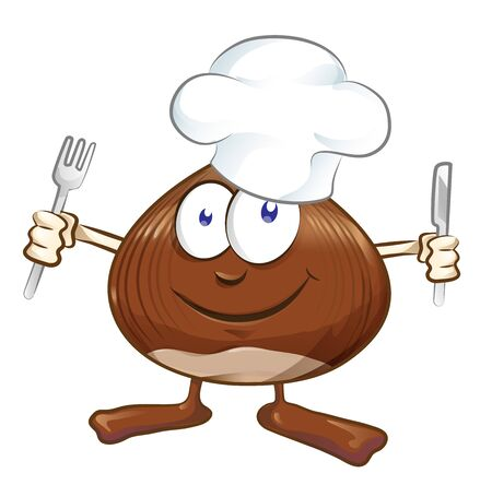 chestnut cartoon chef isolated on white . illustration mascot Ilustracja