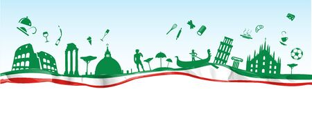 italian banner with symbol monument on flag. vetcor background Ilustracja
