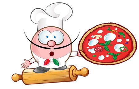 italian pizza chef on rollin pin.illustration cartoon Ilustracja