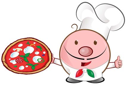 pizza chef mascot cartoon. illustration