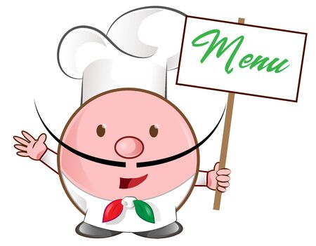 pizza chef mascot with menu signboard Ilustracja