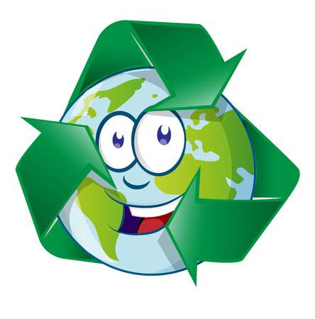 Planet Earth Cartoon Character on recyclin symbol Ilustracja