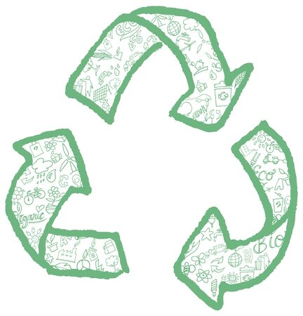 recycling symbol with hand drawn symbol element