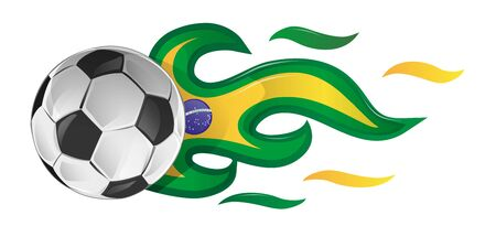 soccer ball on fire with brazil flag. illustration