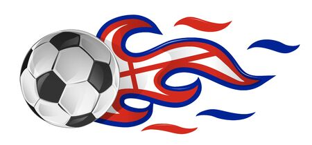 soccer ball on fire with england flag. illustration