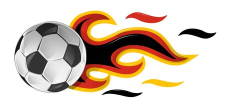 soccer ball on fire with germany flag. illustration Ilustracja