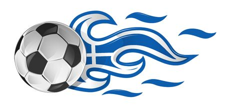 soccer ball on fire with greek flag Ilustracja