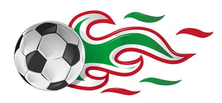 soccer ball on fire with italian and mexican flag Ilustracja