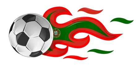 soccer ball on fire with Portugal flag. illustration