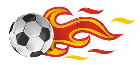 soccer ball on fire with spain flag. illustration