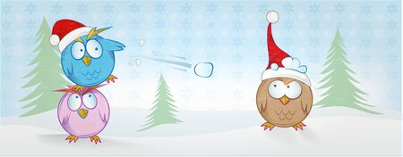 funny owl cartoon on christmas banner . christmas background