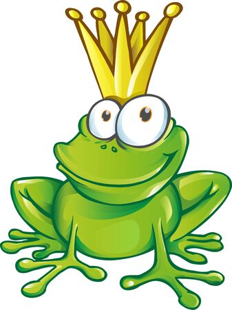 cute frog prince cartoon character  mascot. illustration Ilustracja
