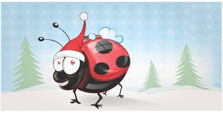 cute Lady bug  chistmas banner background . illustration