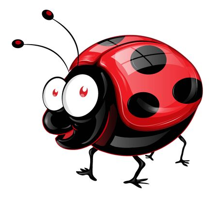 funny ladybug has big eyes  illustration. emoji, cartoon character, sketch vector
