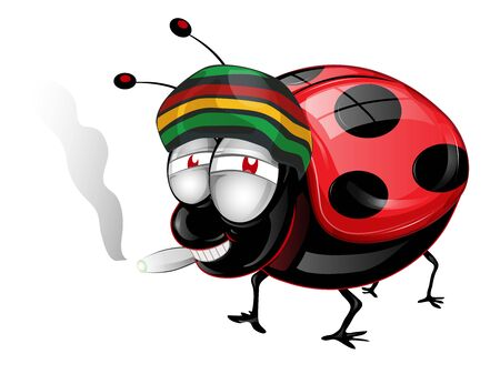 Happy amaican Lady Bug cartoon . Vetcor Illustration
