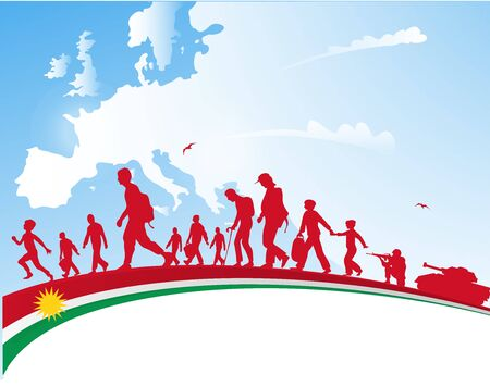 immigration people with kurdistan flag on europe  map background Ilustracja