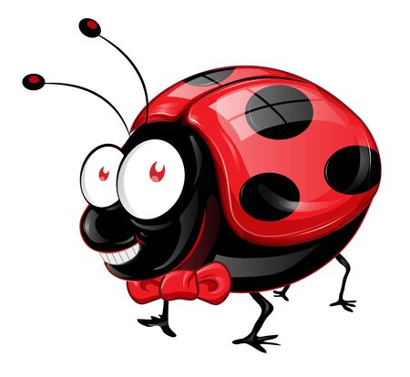 Lady Bug cartoon With Bow tie isolated on White Background