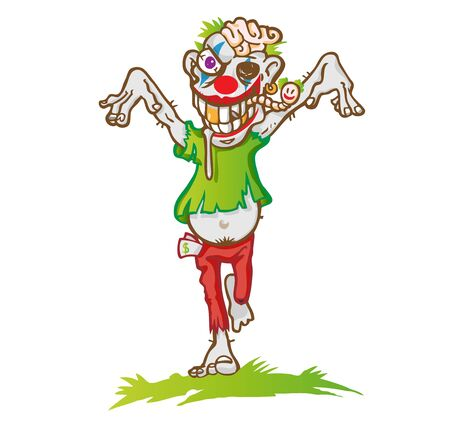Clown zombie mascot cartoon isolated on white background