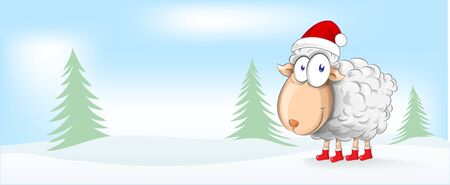 sheep christmas mascot cartoon. banner background Ilustracja