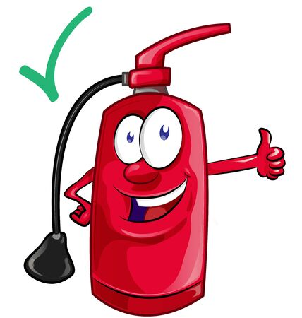 Cartoon mascot of fire extinguisher . illustration
