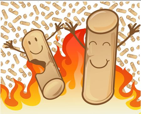 couple of cheerful pellets on flame background Vetores