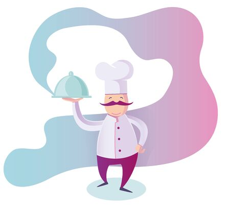 flat Illustration of a Funny Italian Chef Presenting His Specialty of The House Иллюстрация