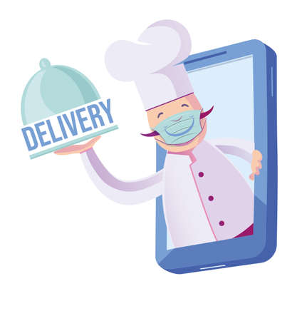 chef with mask coming out of his cellphone with plate that says delivery. Food Delivery Stock fotó - 159636736
