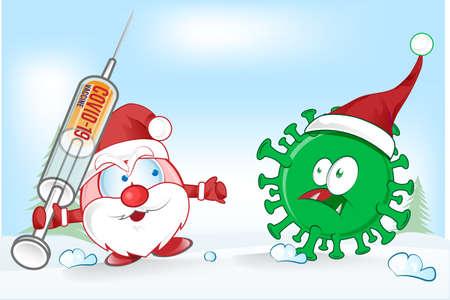 santa claus mascot fight against corona virus covid-19 cartoon on christmas background