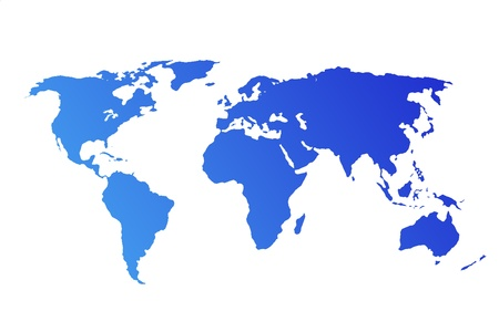 0 geography: Blue World Map isolated on white background Stock Photo