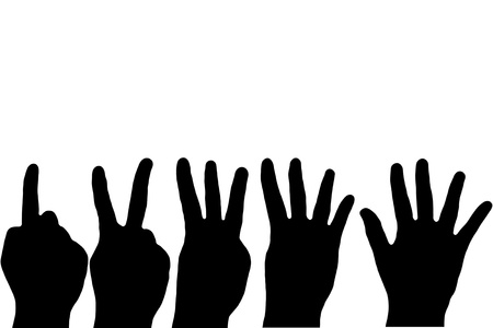 Black Hand Fingers Counting on white background photo
