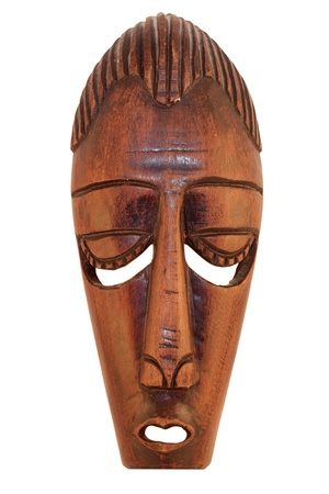wizardry: Ceremonial African Wooden Mask isolated on white background