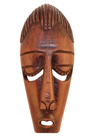 aborigen: Ceremonial m�scara de madera africanas aisladas sobre fondo blanco Foto de archivo