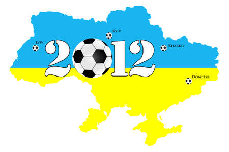 Map of Ukraine and Poland for Euro 2012 photo