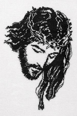 Jesus Kristus korsstygn. Stockfoto
