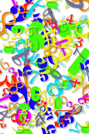 Colored Numeric Wallpaper Texture on white background photo