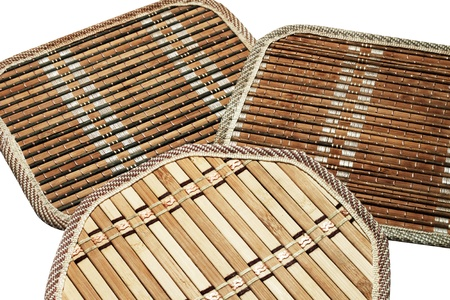 trivet: Bamboo kitchen trivets set three piece isolated on white