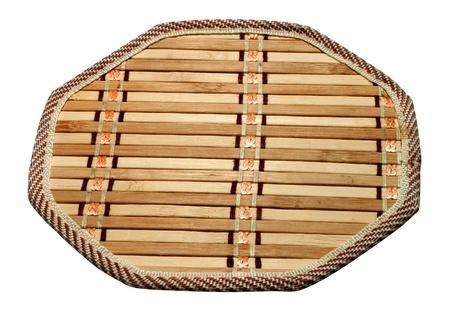 trivet: Wooden Bamboo kitchen trivet isolated on white