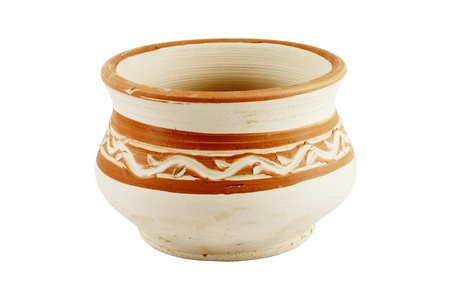 Clay Pot isolated on the white background photo
