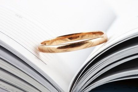 Wedding ring putted on the opened book