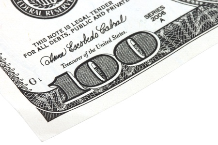 One Hundreds Dollars Closeup isolated on white photo