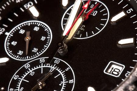 Black Chronograph maximum closeup photo