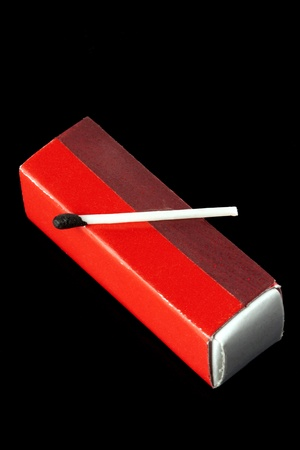 Wooden Match with red matchbox on the black background photo