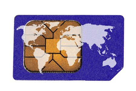 Sim Card with World Map isolated on the white photo