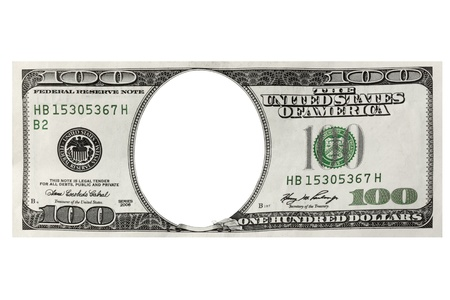 One hundred dollars frame on the white background photo