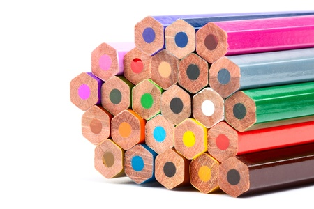 Many Different Colorful Pencils on the white background photo