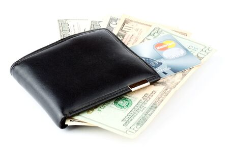 high priced: Money and credit card in a wallet on the white Stock Photo