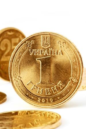hryvna: Ukraine Coins one hryvna on the white