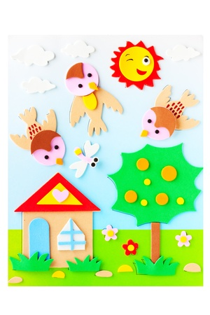 plasticine: House and sunny weather picture maded by plasticine Stock Photo