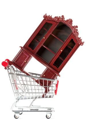 Shopping cart with sideboard on the white background