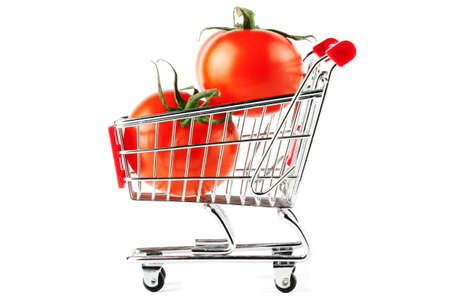 Perfect tomatos in shopping cart on the white background Stock Photo - 11795198
